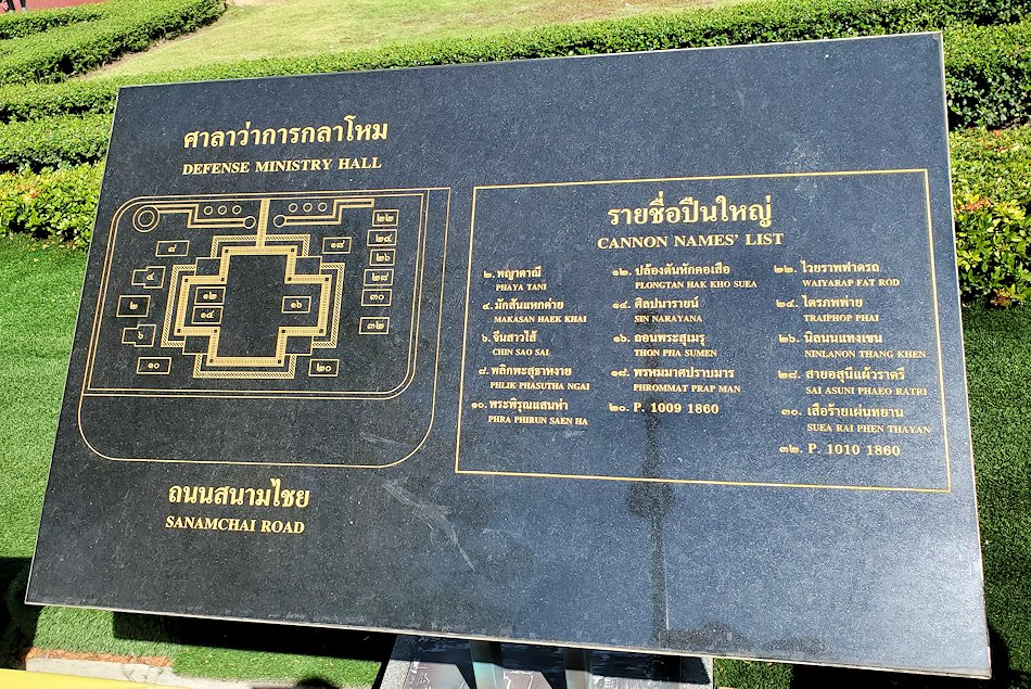 ワットポー近くの王宮跡周辺にあったタイ国防省の建物前の看板