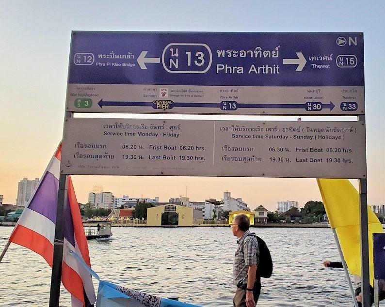 チャオプラヤー川にを運航する船着き場の看板