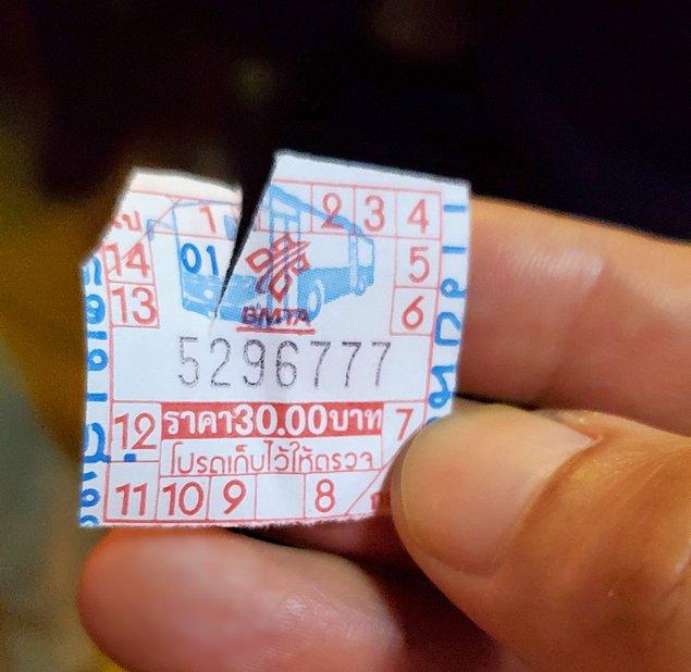 ドンムアン空港行きのバス車内で購入したチケット