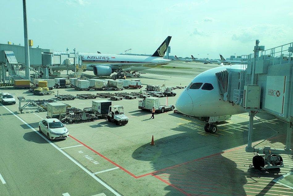 シンガポール航空機で到着した、シンガポールのチャンギ空港