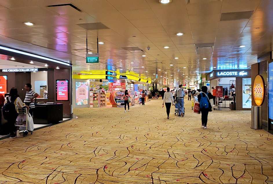シンガポール航空機で到着した、シンガポールのチャンギ空港内をブラつく