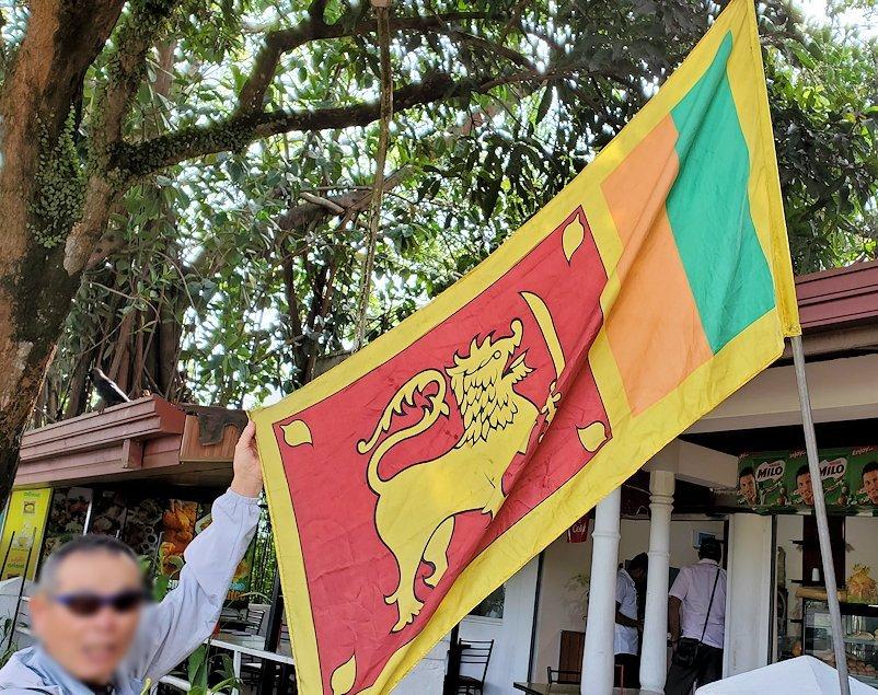 アヌラーダプラまで移動する途中に訪れた休憩所前でスリランカ国旗を持つオジサン