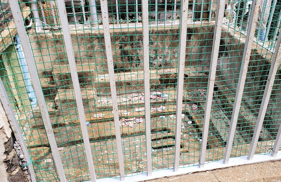イスルムニヤ精舎敷地内にある、大きな岩にあった賽銭