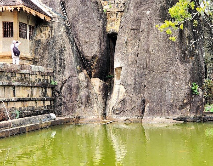 イスルムニヤ精舎正面右に彫られている、ゾウさん