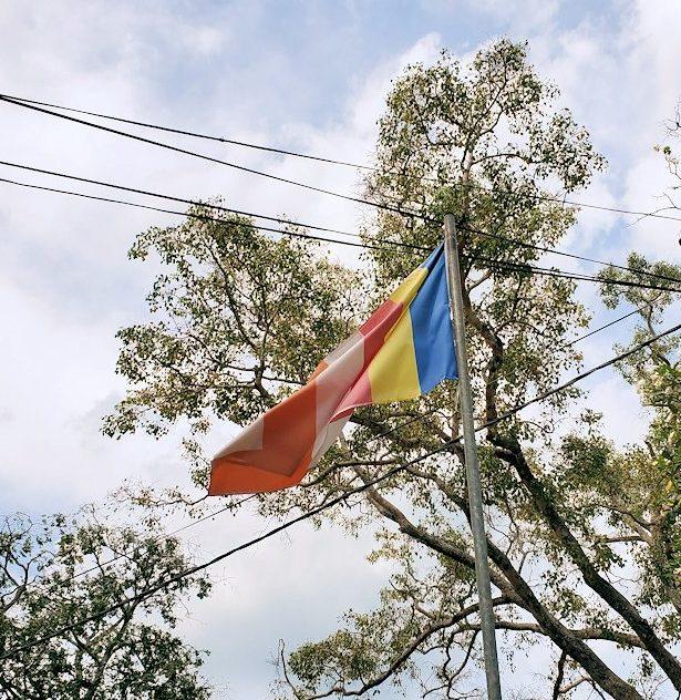 アヌラーダプラにあるスリー・マハー菩提樹が祀られる場所の敷地で見られる仏旗