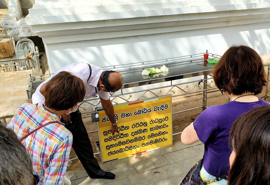 祀られているスリー・マハー菩提樹でシンハラ語の説明をする現地ガイドさん