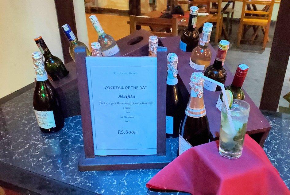 【ホテル】ザ・ロング・ビーチ・リゾートのレストラン会場に置かれていたワイン