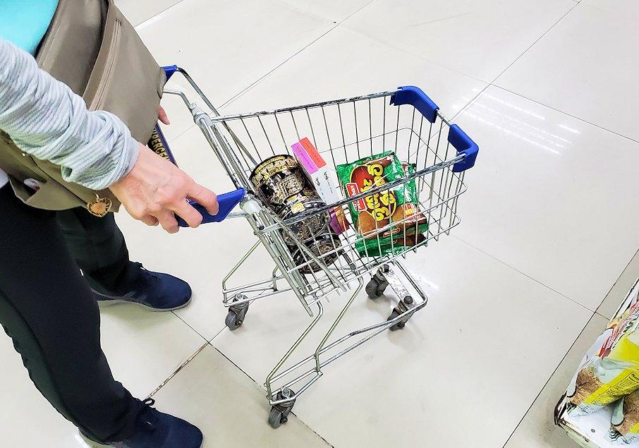 「アーピコ・スーパーマーケット」で買い物する人
