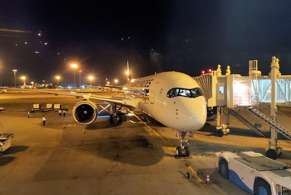 スリランカの空港に待機しているシンガポール航空の飛行機