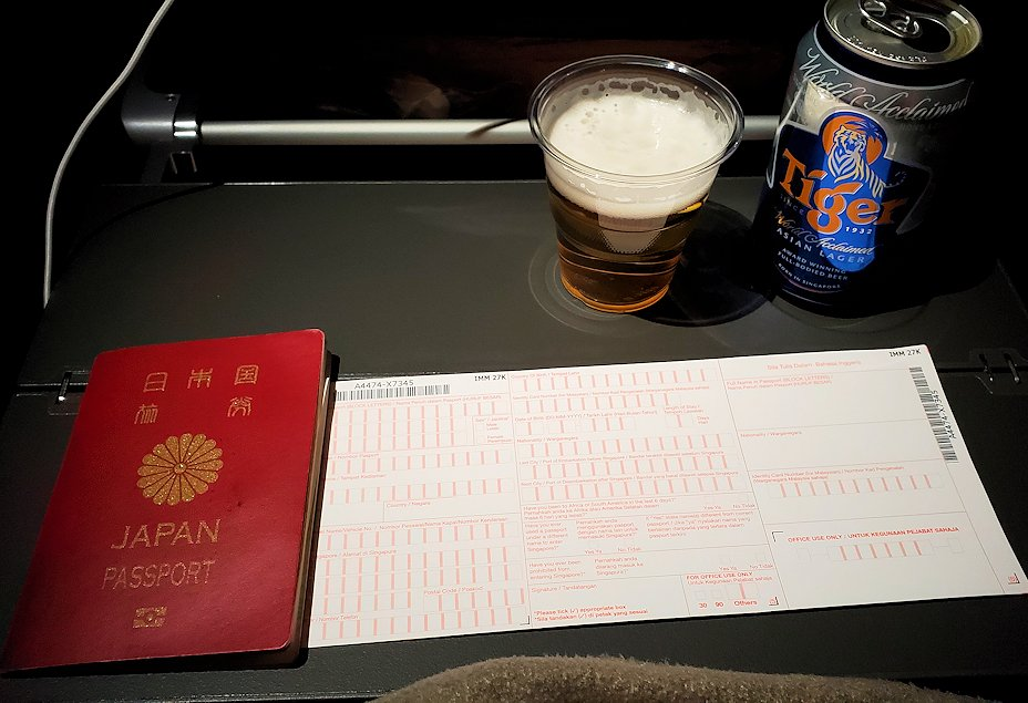 シンガポール航空の飛行機で配られた入国カード-2