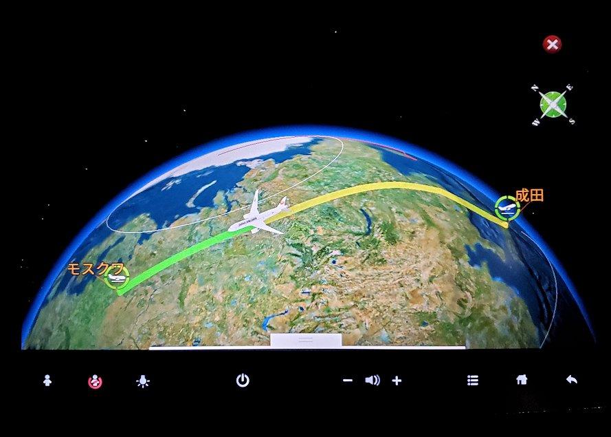 成田からモスクワへ向かうJAL国際線機内で見た、航路のモニター画面