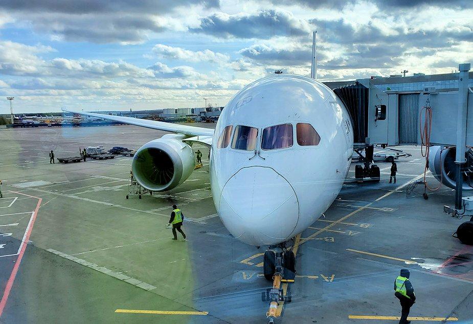 モスクワに到着したJAL国際線の機体