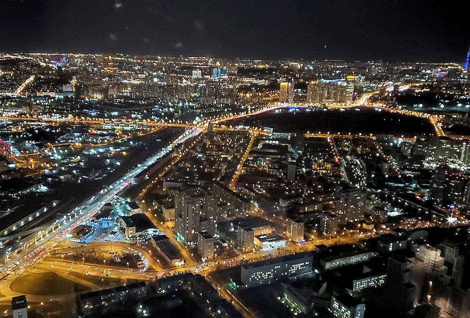 フェデレーションタワーの展望台からモスクワ市内の夜景を一望