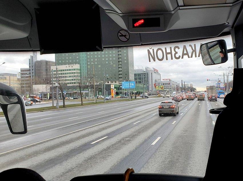 モスクワ市内からセルギエフ・ポサドへとバスで向かう途中に見えた景色
