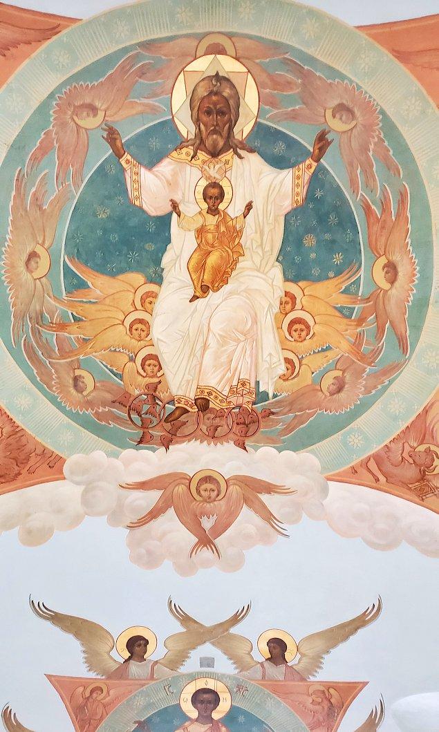トロイツェ・セルギエフ大修道院群の入口通路に描かれたロシア正教の宗教画