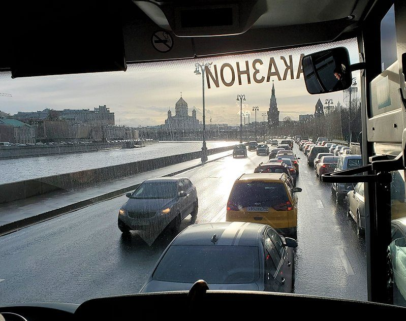 モスクワ市内を走るバスからの景色