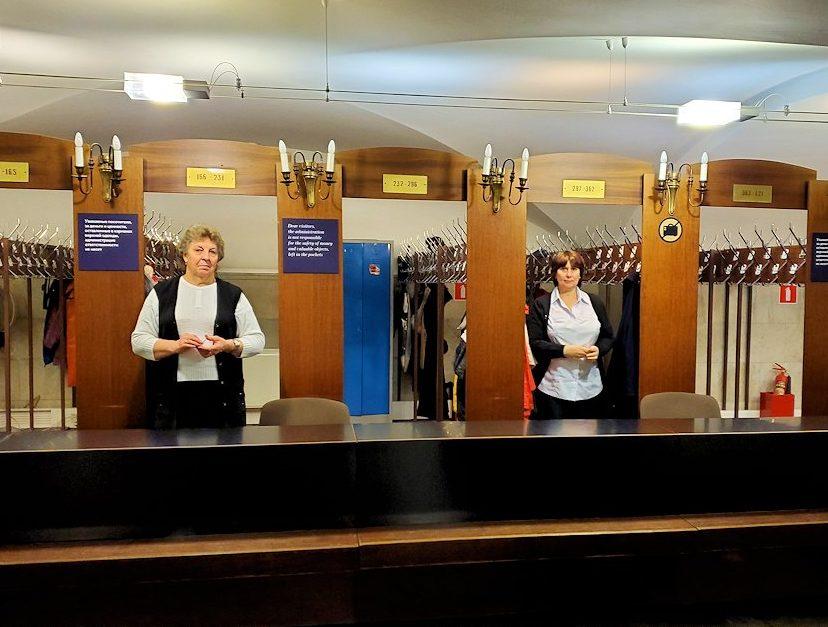 クレムリンの武器庫内の上着を預ける場所