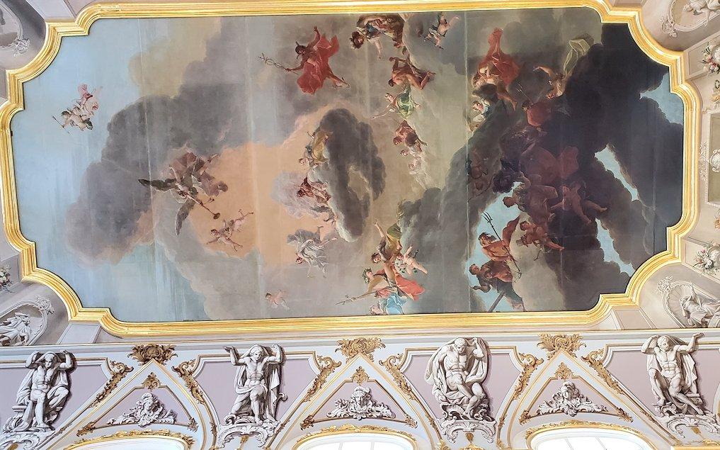 エルミタージュ美術館1階の階段「大使の階段」の天井に描かれている絵画