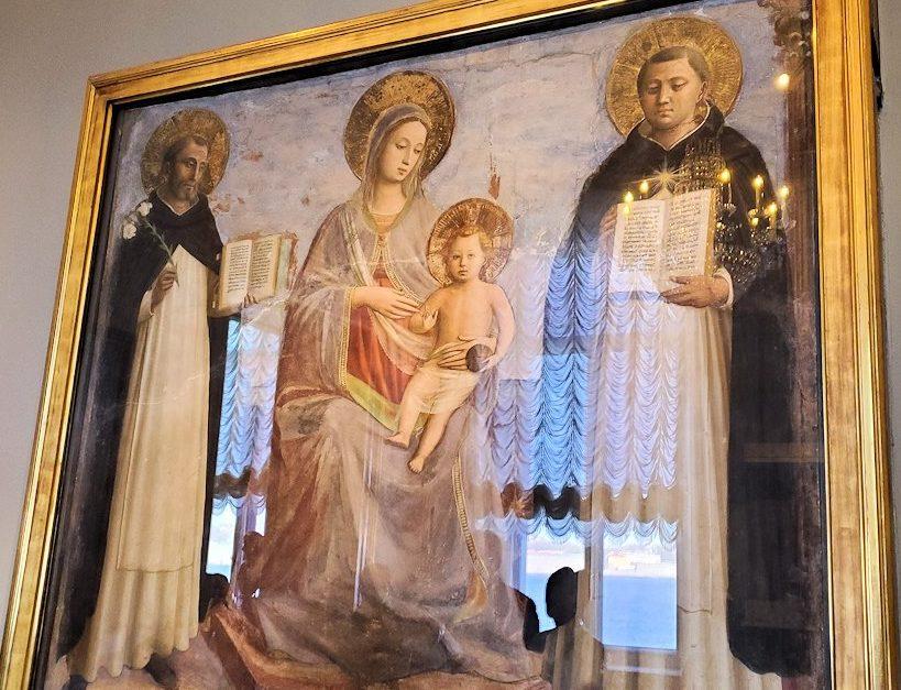 『聖母子と聖ドミニコと聖トマスとアクィナス』(The Virgin and Child with Sts Dominic and Thomas Aquinas) by フラ・アンジェリコ(Fra' Angelico)の作品-1
