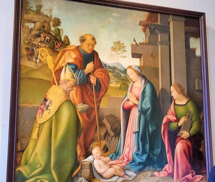 『幼子キリストの礼拝』(The Adoration of Infant Christ) by ラファエロ・ボッティチーニ(Raffaello Botticini)の絵