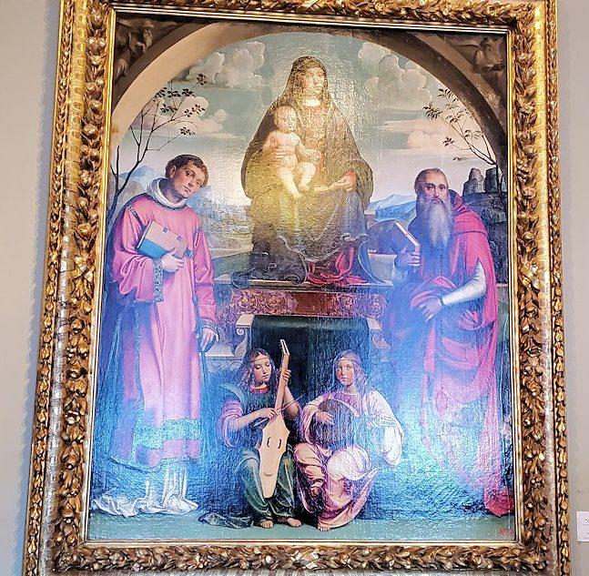 『聖母子と聖ラウレンティウスと聖ヒエロニムス、2人の天使』 by フランチェスコ・フランチャの絵