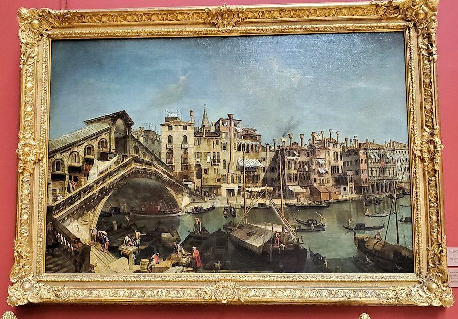 『ベニスのリアルト橋』(Rialto Bridge in Venice) by ミケーレ・ジョバンニ・マリエスキ(Michele Giovanni Marieschi)