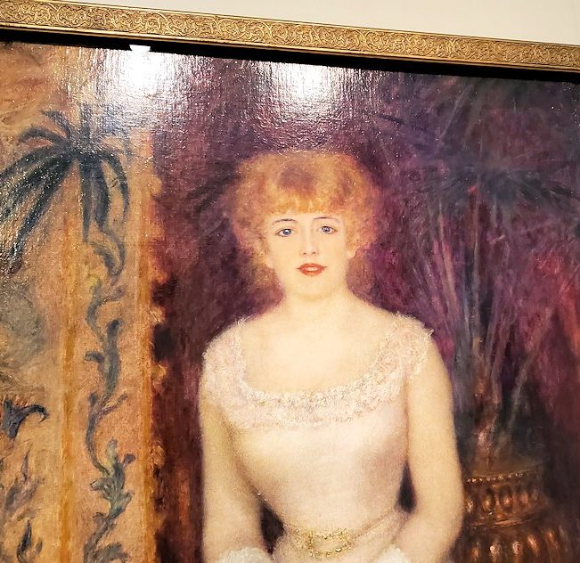 『ジャンヌ・サマリーの立像』 (Portrait of the actress Jeanne Samary) by ピエール・オーギュスト・ルノワール(Pierre-Auguste Renoir)の顔部分のアップ写真