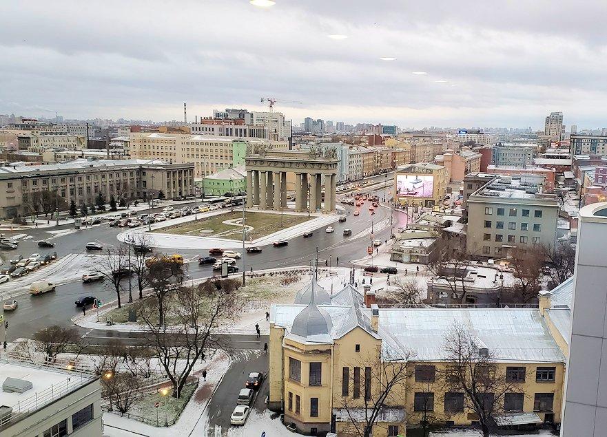 朝のホリデーインの上層階から眺める、サンクトペテルブルク市内の景色