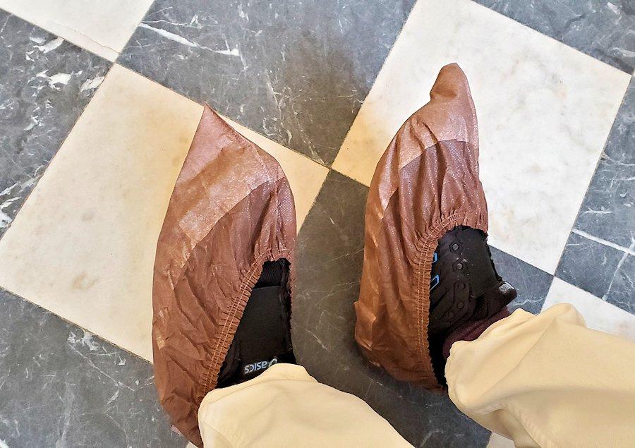 エカテリーナ宮殿の入口を入った所に置かれている靴カバーを装着
