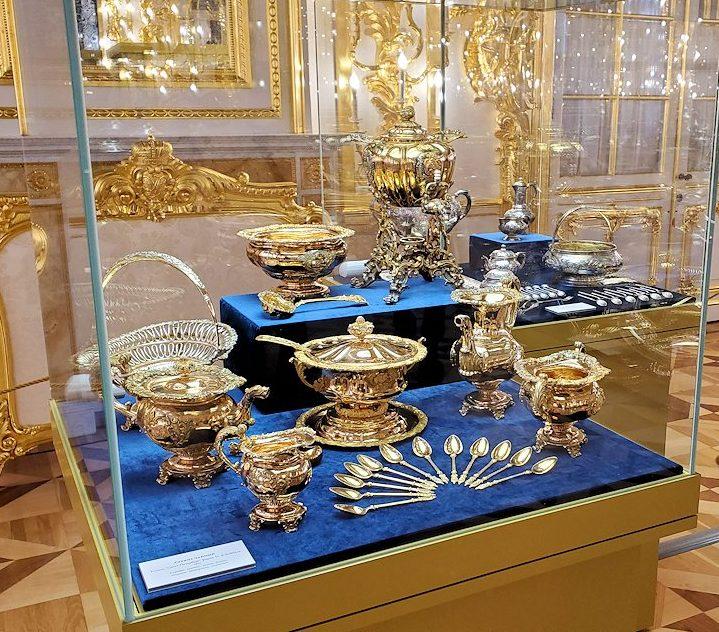 エカテリーナ宮殿の「第一控えの間」に飾られていた金食器など