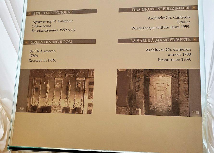 エカテリーナ宮殿の「緑の食堂」の説明板