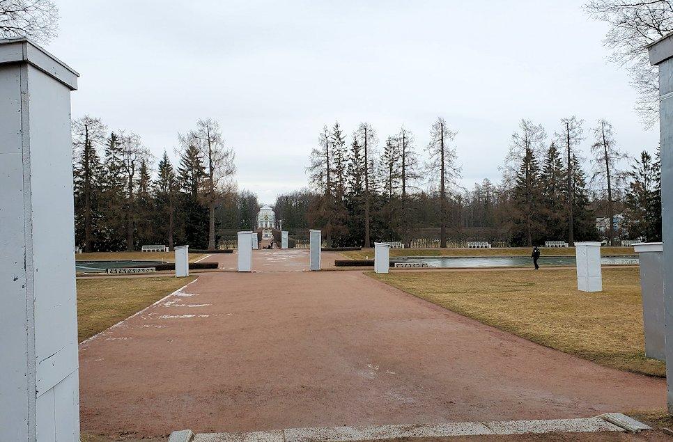 エカテリーナ宮殿から眺める庭の景色