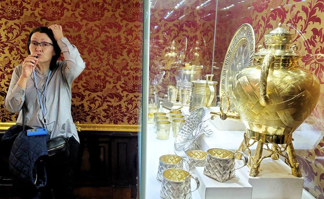 ファベルジェ博物館に置かれていた高級金細工製品の数々