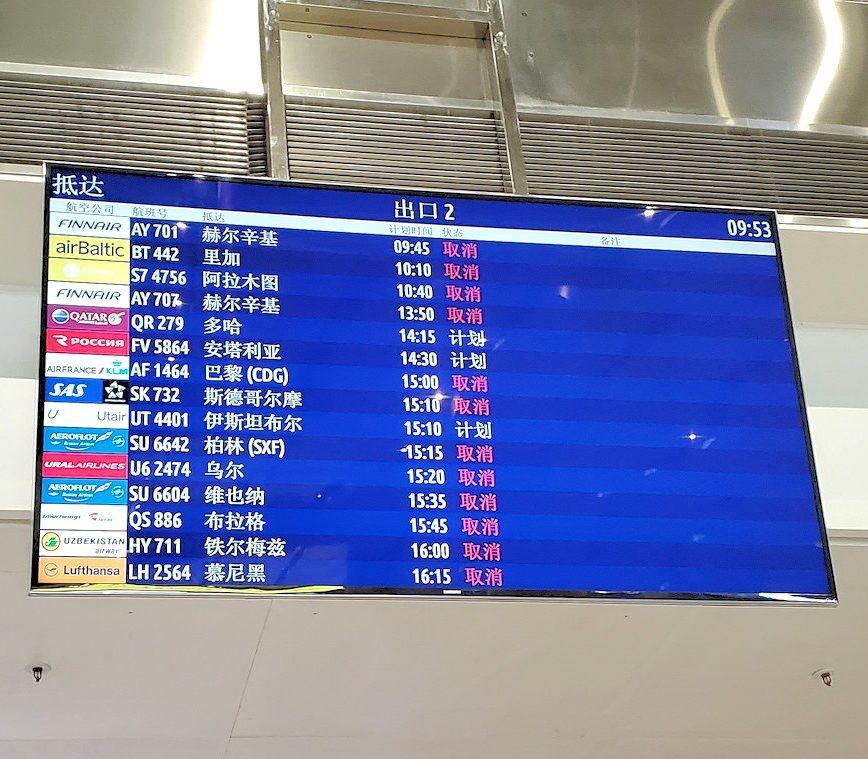 サンクトペテルブルクのプルコヴォ空港の電光掲示板には取り消し表示が多数あった