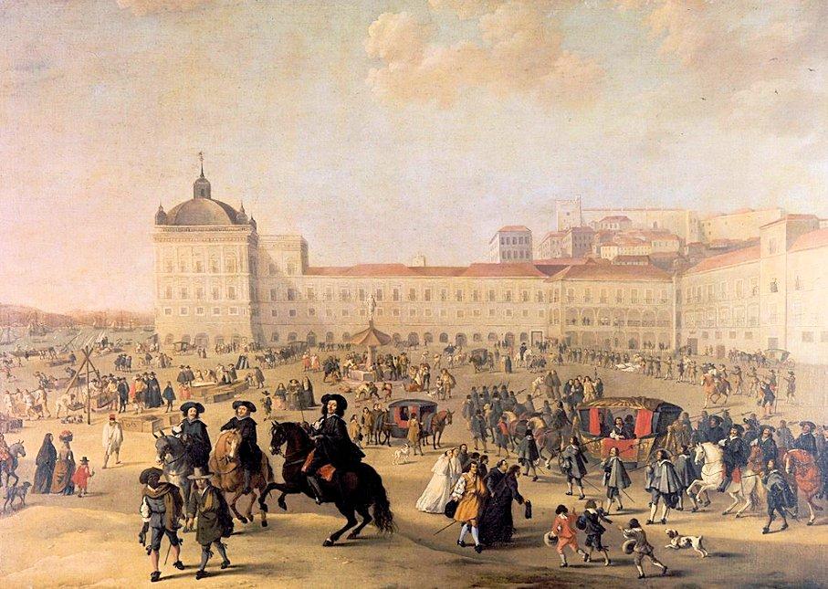 リスボン市内のコルメシオ広場に昔あったリベイラ宮殿の様子を表す絵