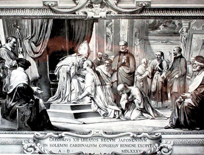 天正遣欧少年使節がローマ教皇に初見した時の様子