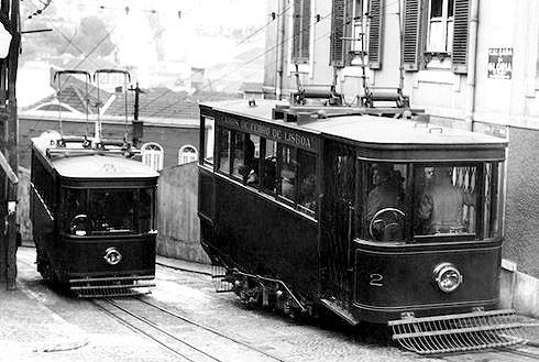 昔のグロリア線ケーブルカーの写真