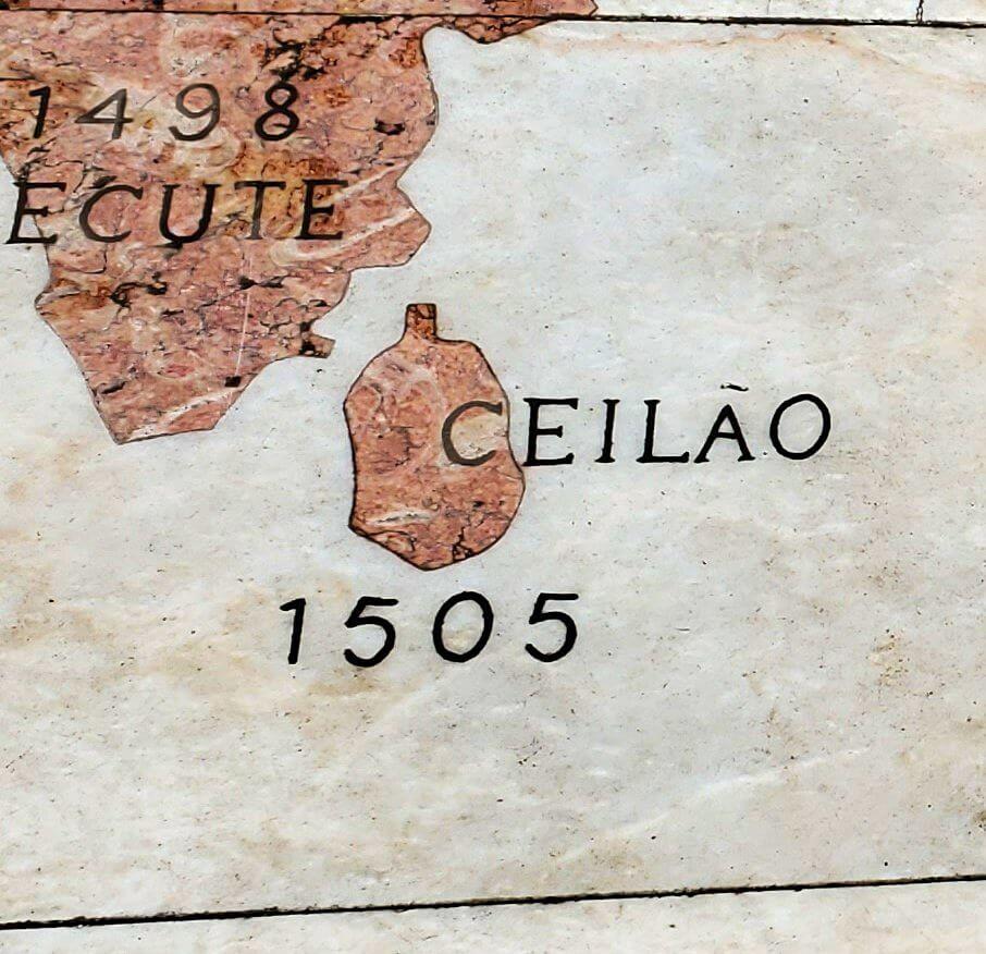発見のモニュメントにあるセイロン島の地図