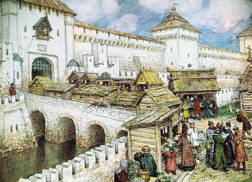 モスクワの横を流れていたネグリナヤ川(Неглинная)がある時代の絵