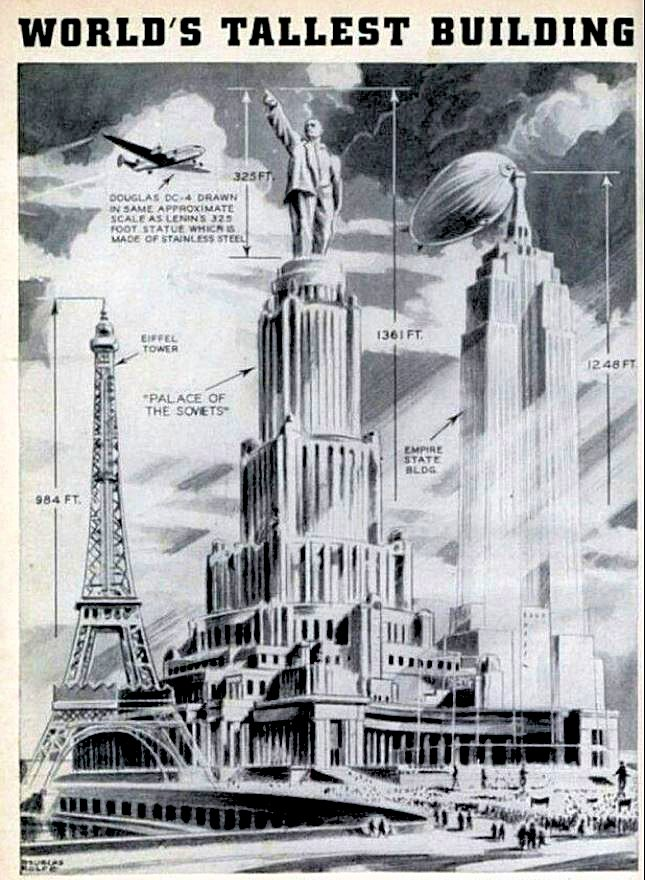 モスクワ市内に建設予定だった415mの高さを誇るソビエト宮殿の予定図