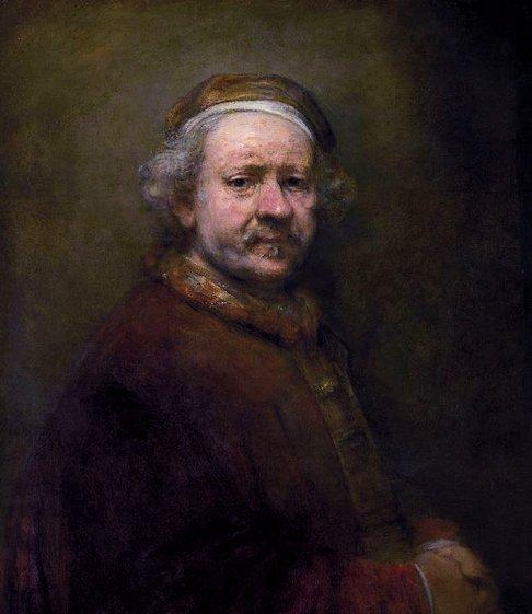 レンブラントが亡くなった1669年の63歳の自画像-ロンドン国立美術館所蔵(Rembrandt Harmenszoon van Rijn)