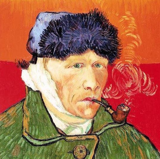 フィンセント・ファン・ゴッホ(Vincent van Gogh) 「包帯をしてパイプをくわえた自画像(Self-Portrait with Bandaged Ear and Pipe)」-1889